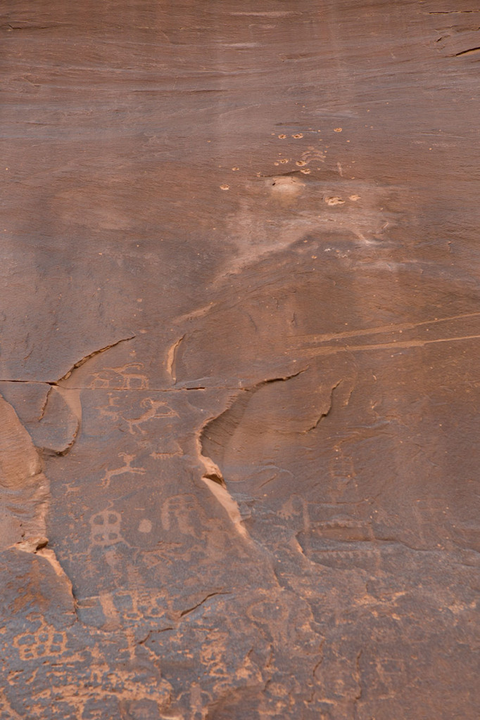 Petroglyphs at Sand Island, including bullet damage to one