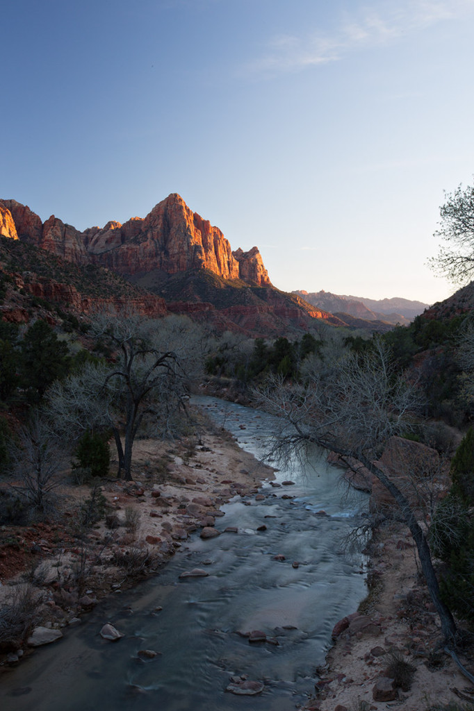 Watchman sunset, Zion National Park, taken from Canyon Junction Bridge