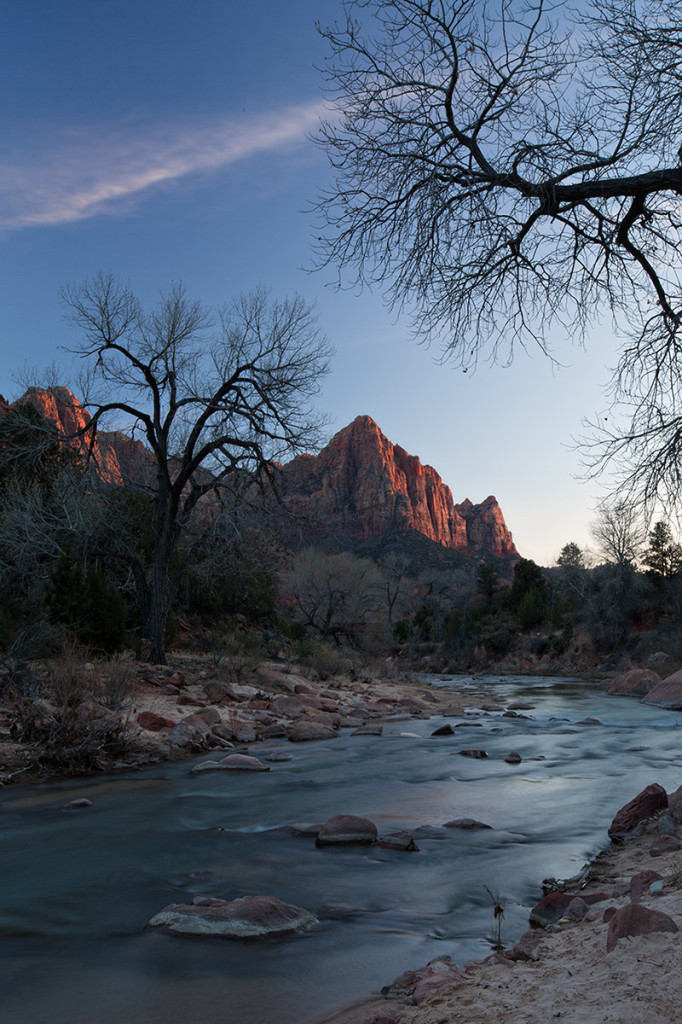 The Watchman in a boring sunset. Zion National Park.