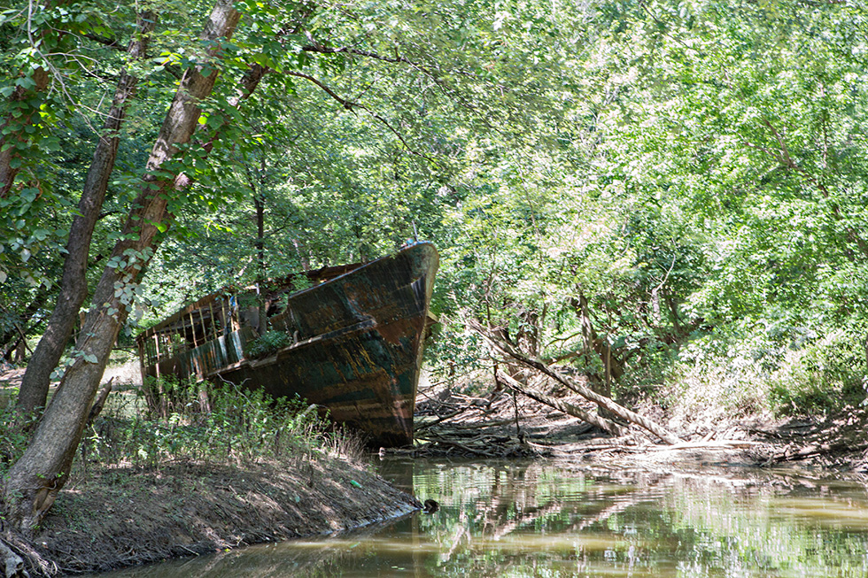 Abandoned ship in the woods