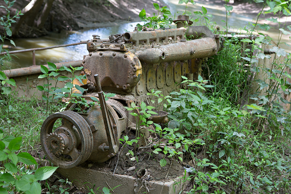 Engine of abandoned river boat