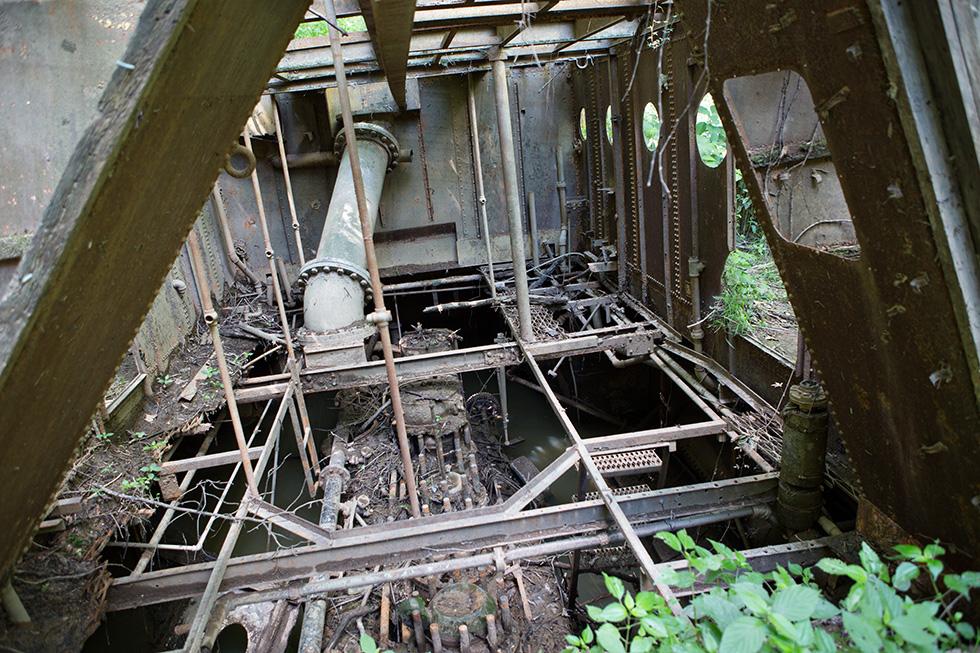 Engine room of abandoned ship