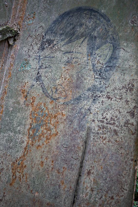 Graffiti on abandoned ship