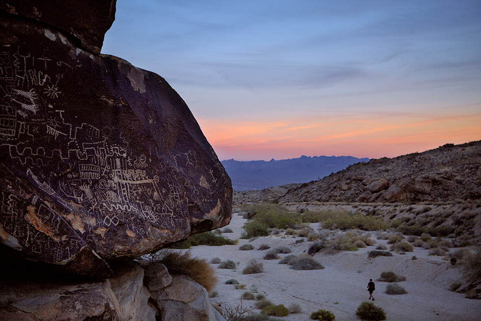 Indian pictographs at sunset near Laughlin, Nevada