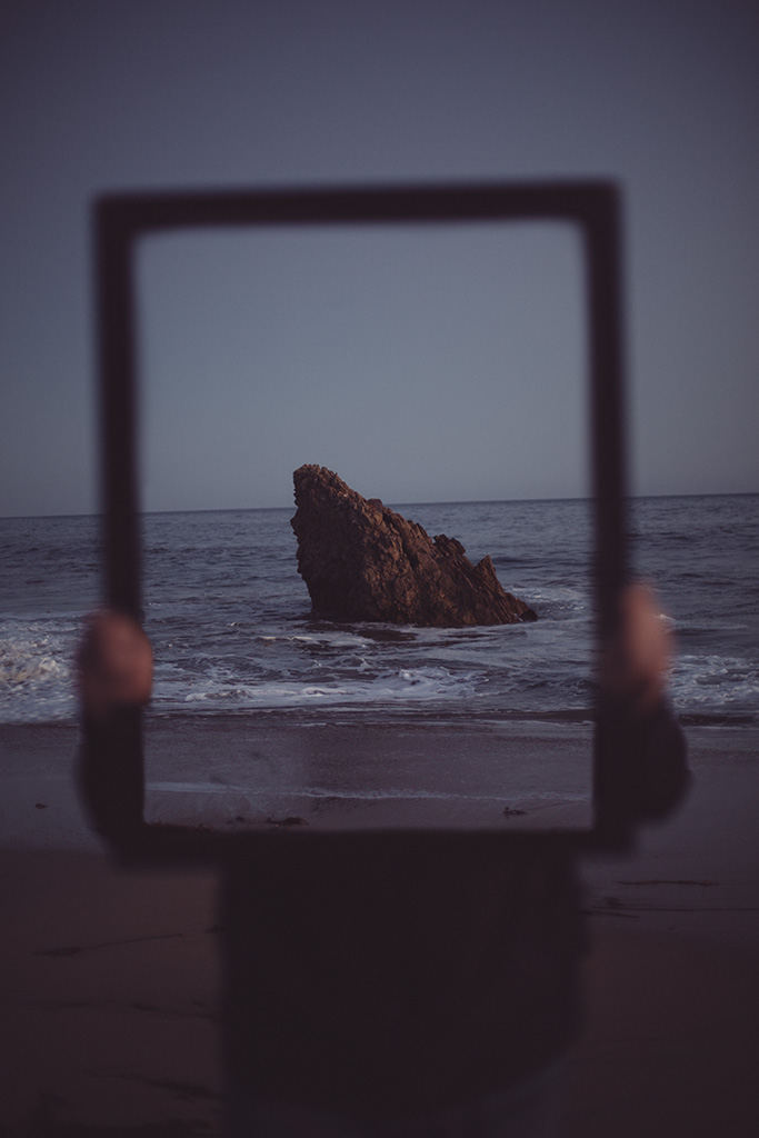Framed self-portrait at Corona Del Mar
