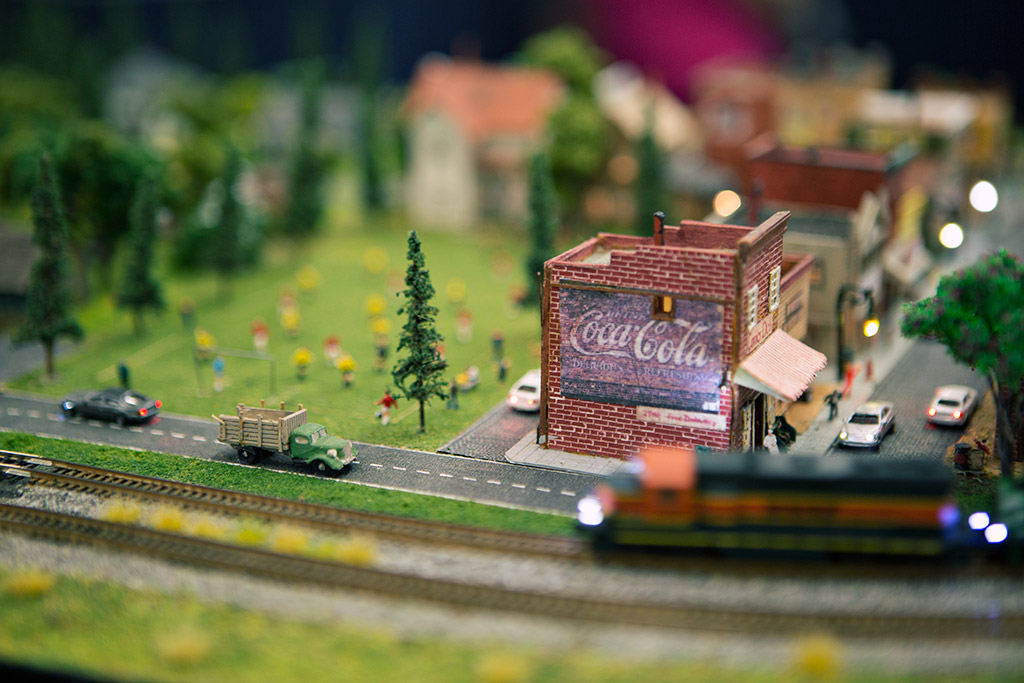 Anaheim Convention Center Model Train Expo-Shot of Town with Coca-Cola Building