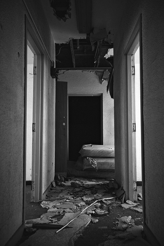 Creepy hallway in abandoned military city