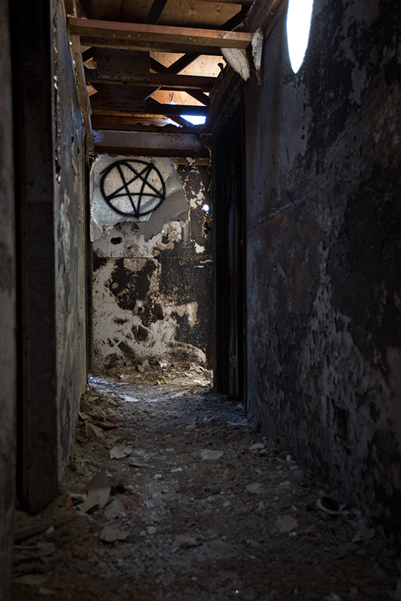 Pentagram in burned out house