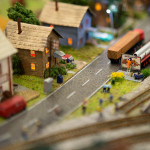 Anaheim Convention Center Model Train Expo-Town Scene with Billboard