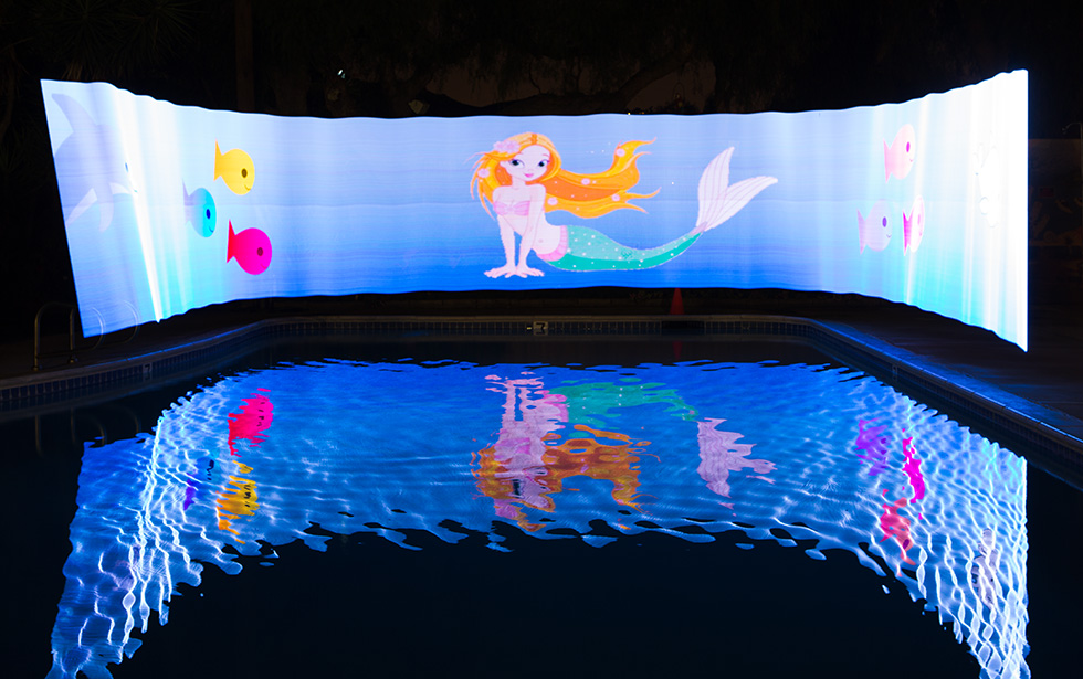 Pixelstick mermaid at the pool