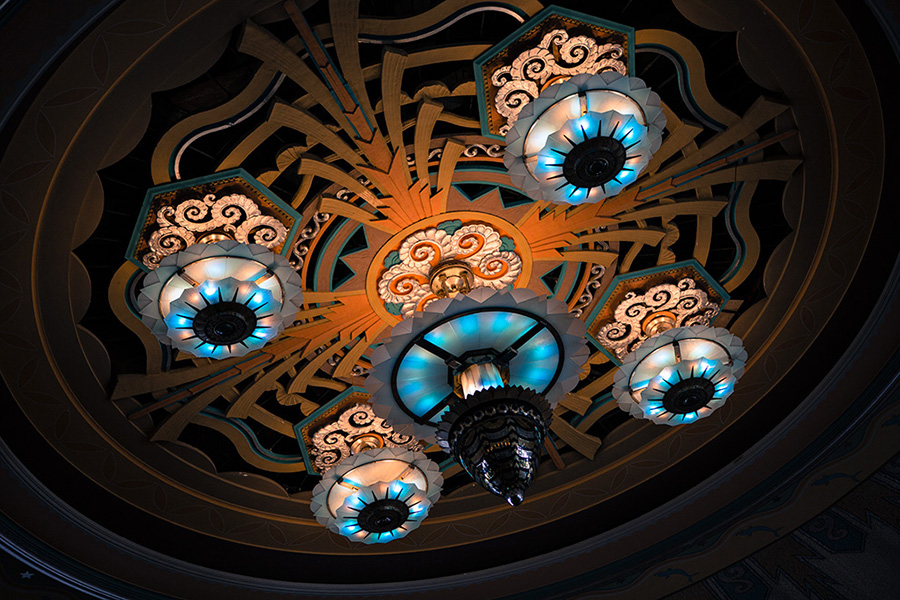 Chandelier of ball room at the Avalon Casino
