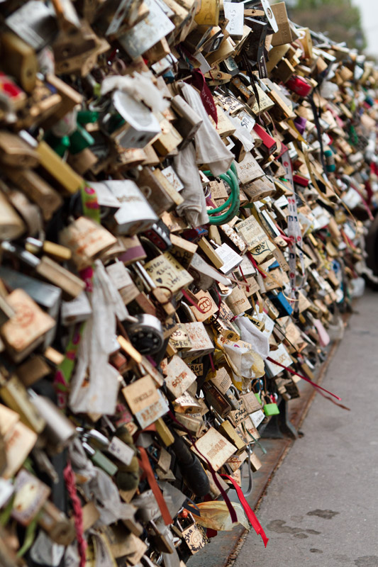 Locks of Love on a bridge near Notre Dame