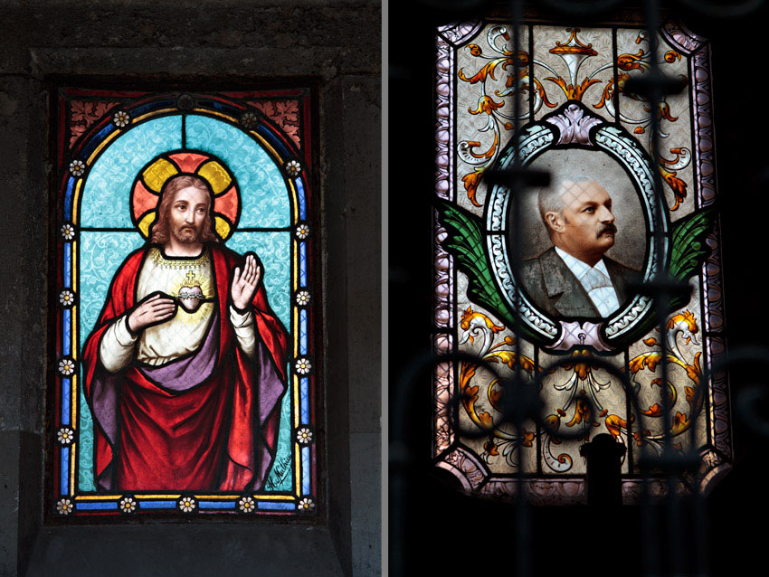 Stained glass art in tombs at Pere Lachaise