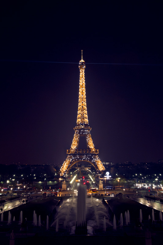 Eiffel Tower at night during the light show