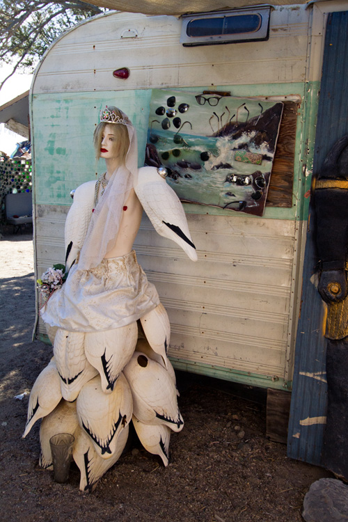 Goose girl, East Jesus, Salton Sea