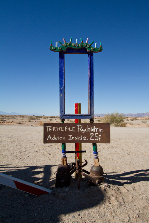 Terrible psychiatric advice, East Jesus, Salton Sea