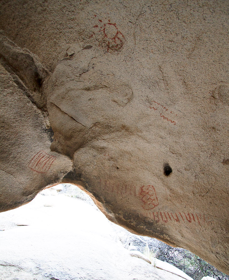 Indian pictographs near ruins at Joshua Tree
