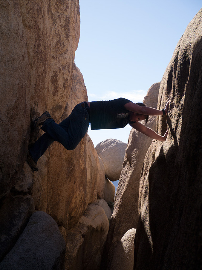 Me, doing a chimney climb at Hall of Horrors, Joshua Tree